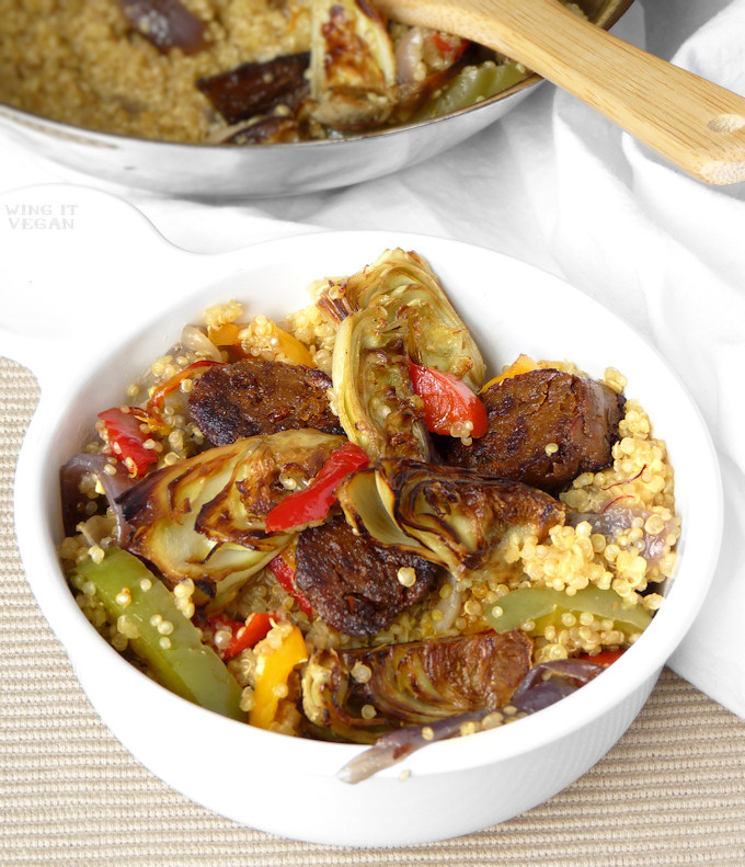 Quinoa Paella with Roasted Artichoke Hearts