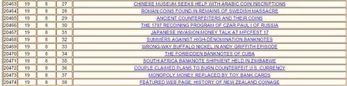 E-Sylum Table of Contents closeup