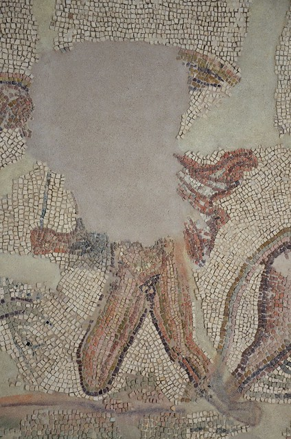Detail of the Mosaic of the Double Kidnapping (Europa and Ganymede), found in Écija in 1986, 3rd century AD, Museo Histórico Municipal de Écija, Spain