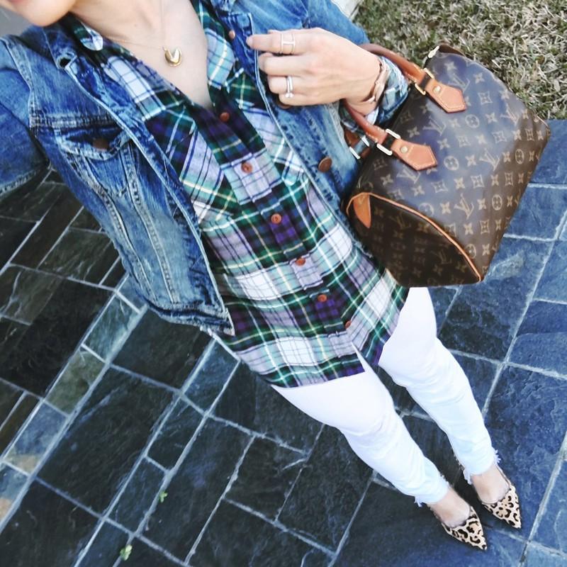 cute & little blog | petite fashion | denim jacket, j.crew blue ridge plaid boyfriend shirt, white distressed jeans, leopard pumps, louis vuitton speedy 25, fortune and frame necklace | spring outfit