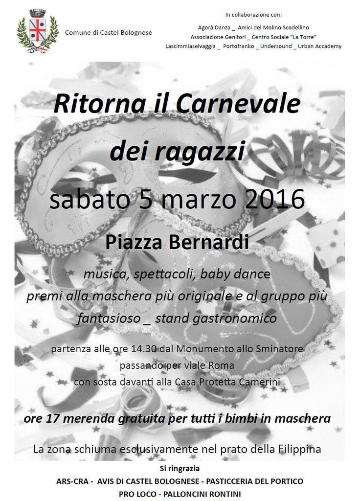 Sabato pomeriggio 5 marzo: Carnevale dei Ragazzi a Castel Bolognese