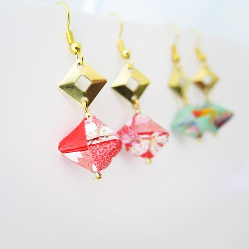Mayumi Origami Jewelry - Bead Earrings