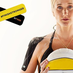 Keep your body guessing with new workouts. @kerrileewalsh mixes up her normal beach volley routines with pilates and lifting weights. #TrainLikeAPro #FinishStronger #kttape