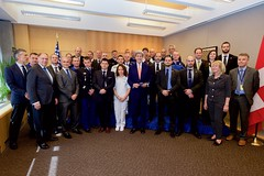 U.S. Secretary of State John Kerry poses at the U.S. Mission in Geneva, Switzerland, on May 2, 2016, with the French and Swiss first responders who treated him from May 31 to June 1, 2015, after he broke his leg in a biking accident in nearby France. [State Department photo/ Public Domain]