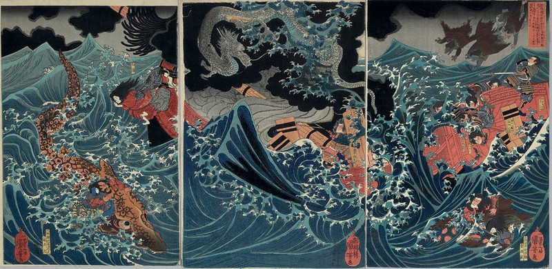Utagawa Kuniyoshi - A group of tengu rescue Minamoto no Tametomo and his men as their ship is wrecked in a storm whipped up by a flying dragon in the seas of Higo near Minamata, 19th C