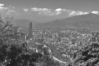 Santiago - Cerro San Cristobal skyline bw