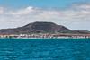 Volcán Bayuyo de Fuerteventura visto desde el ferry a Isla de Lobos