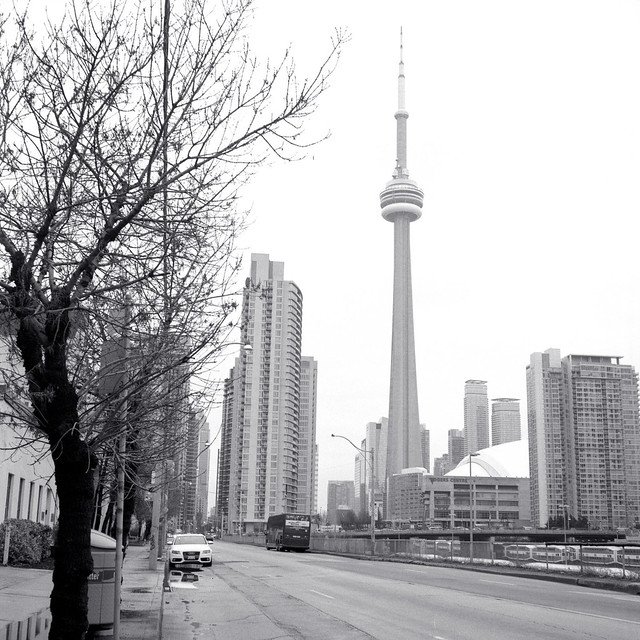 Looking Towards the CN Tower on Front St