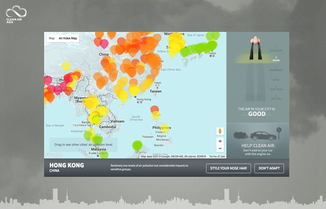 Hong Kong on the Hairy Nose Map by Clean Air Asia