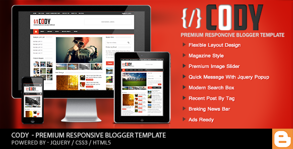 Cody v1.0 – Responsive Magazine Blogger Template