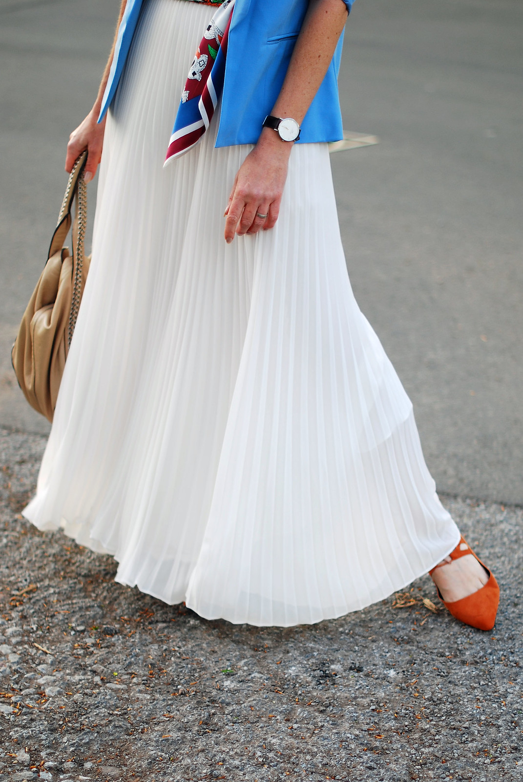 SS16 White pleated maxi skirt, white chiffon top, blue blazer, scarf as belt, orange lace up flats | Not Dressed As Lamb