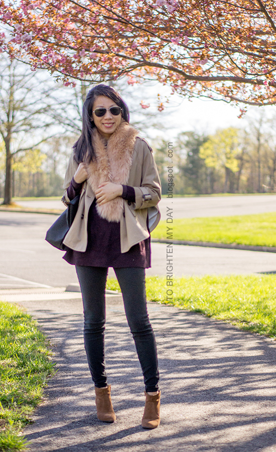 faux fur scarf, camel trench cape, plum tunic sweater, black skinny jeans, brown suede ankle boots