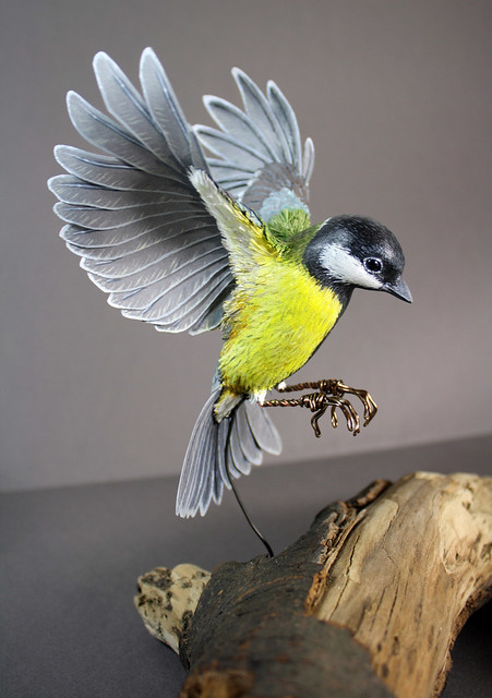 Paper and Wood Great Tit Sculpture