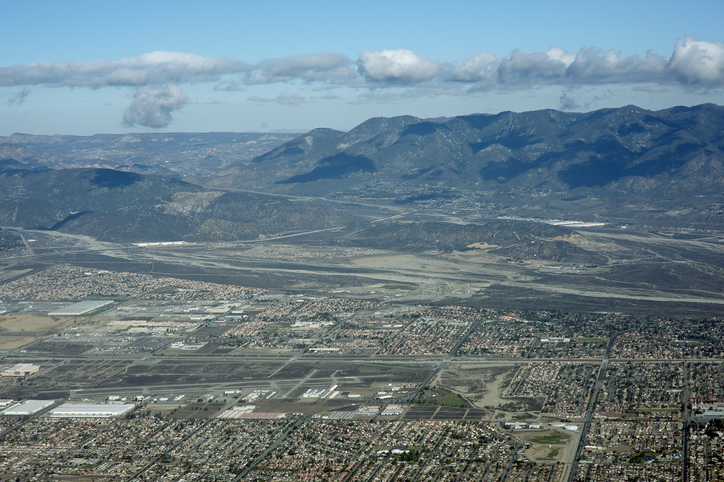Aerial view of Devore, San Bernardino County, California