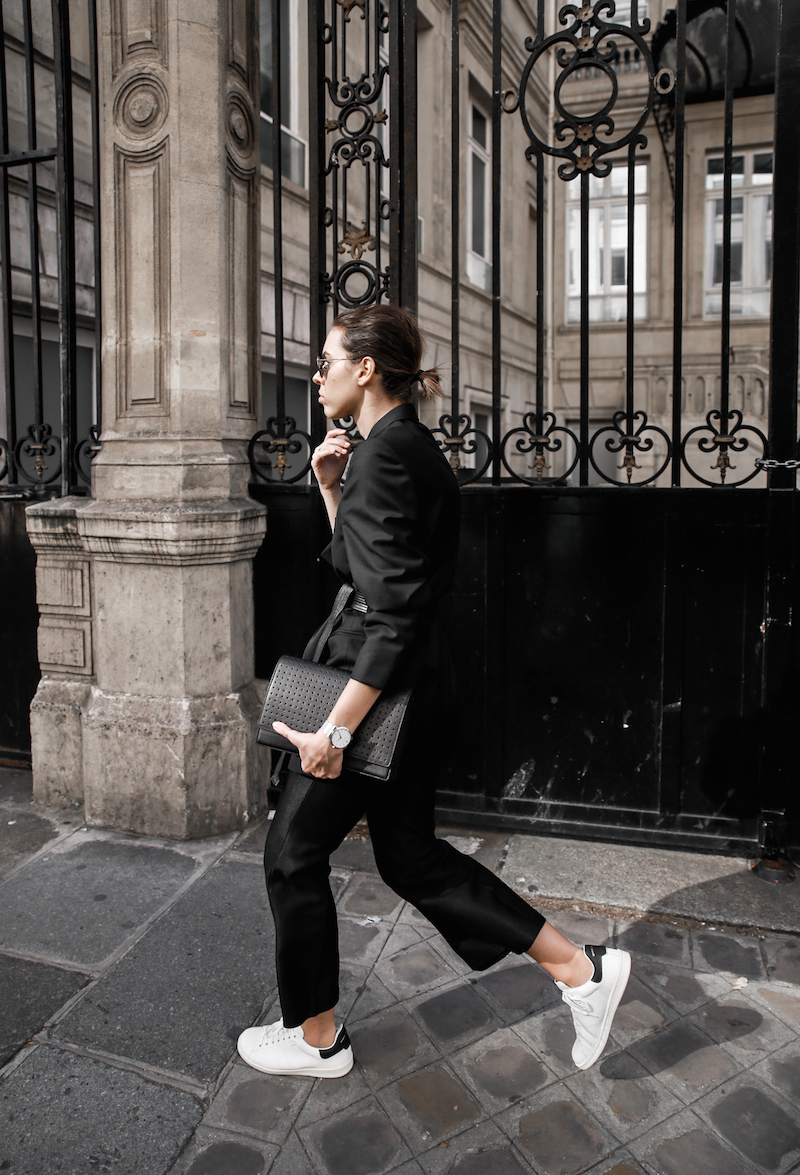 all black Paris fashion week street style Isabel Marant sneakers cropped kick flare Stella McCartney blazer Bassike belt modern legacy (1 of 8)
