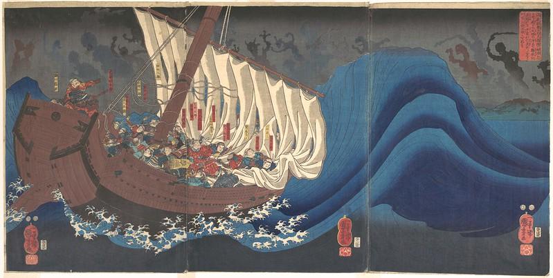 Utagawa Kuniyoshi - Revenge of the Taira Warriors, 1843-47