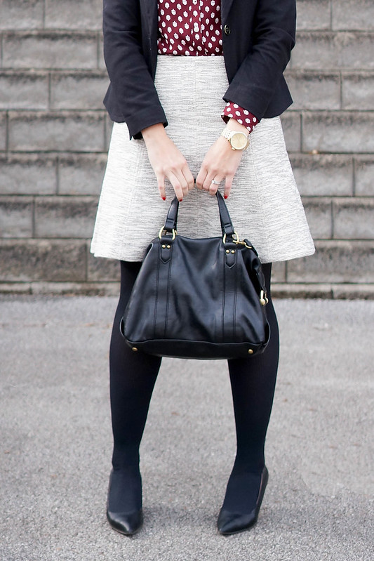 acorn print loft blouse + black blazer + Loft skirt; winter work outfit; Style On Target