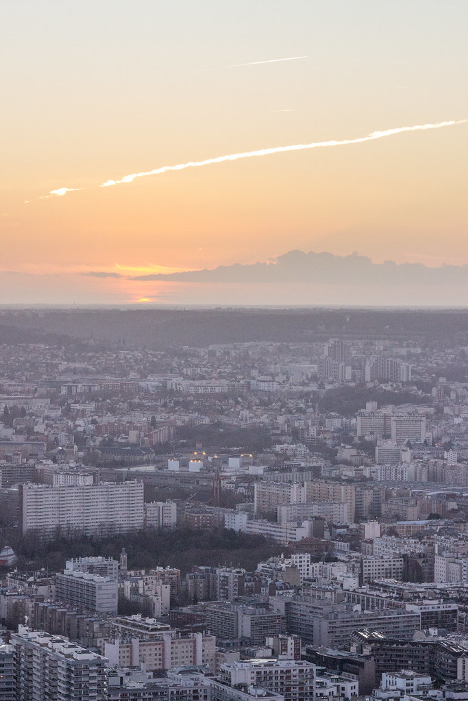 Orange sunset over Paris