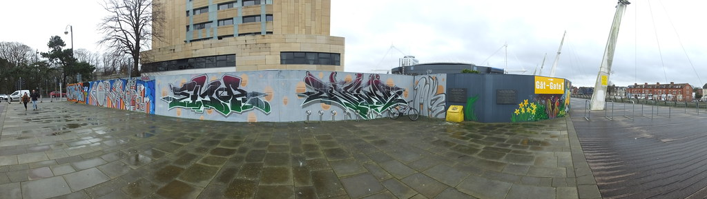Cardiff street art on Millennium Walkway