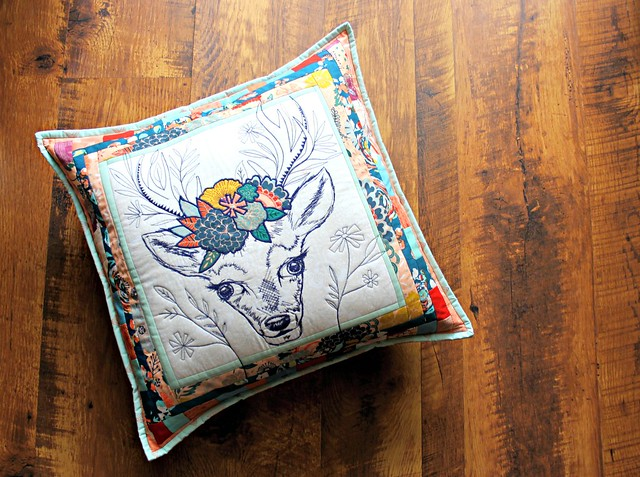 Fleet & Flourish Stag Pillow -- Stitched with Aurifil