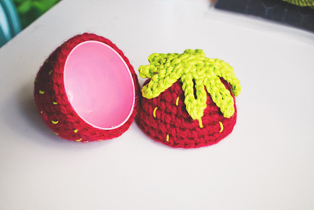 crochet strawberry egg, open