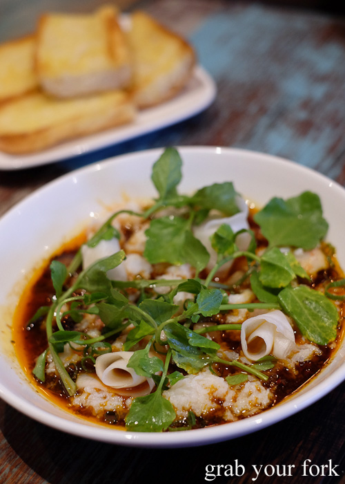 Picked spanner crab with bone marrow and spicy Hennessy sauce at Yang and Co Castlecrag