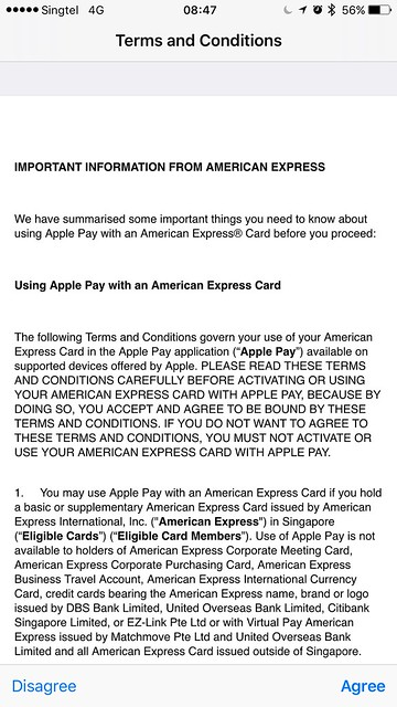 Apple Pay Singapore - AMEX - Terms and Conditions