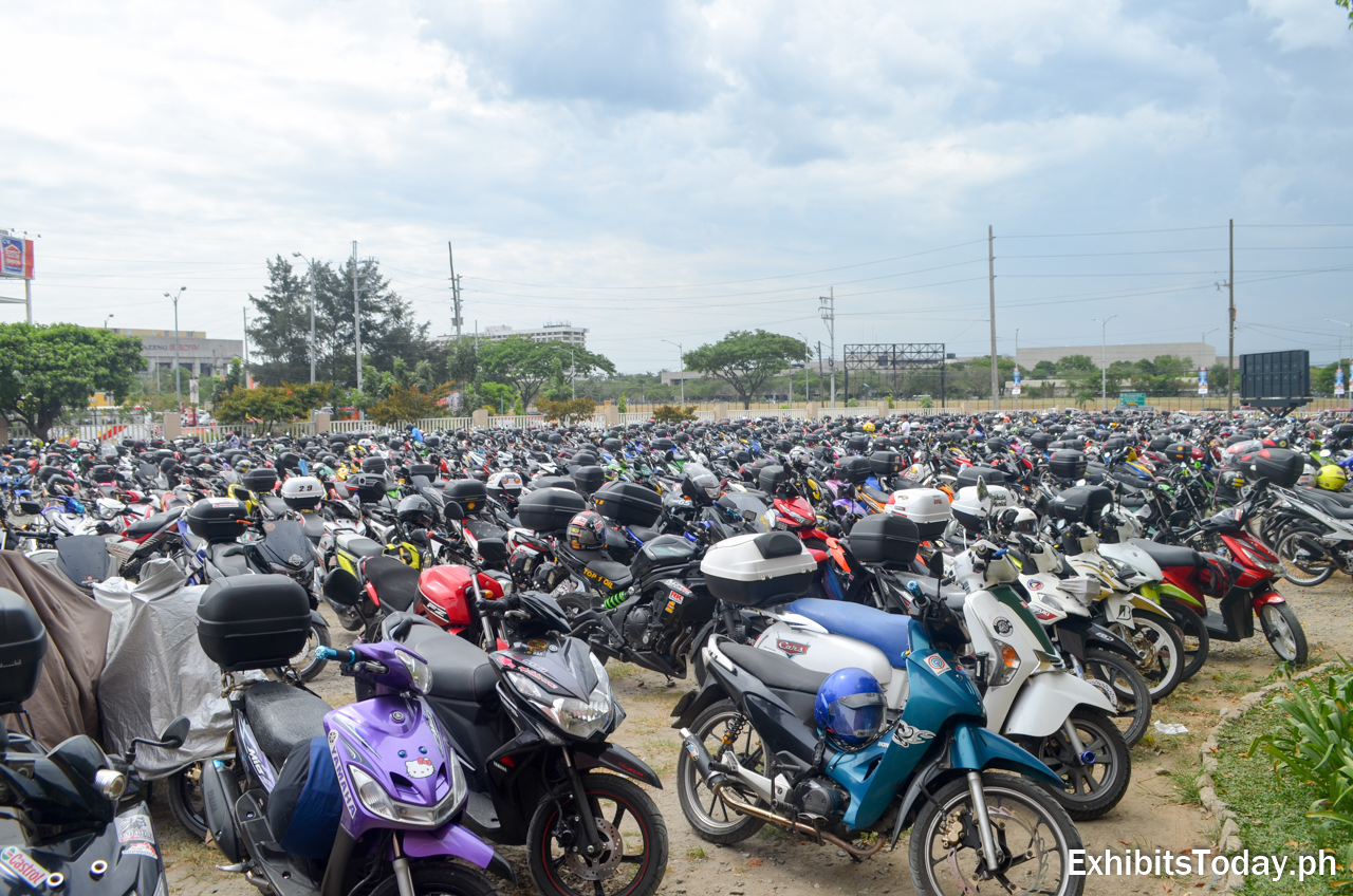 Sea of motorcycles and scooters in the WTCMM parking area