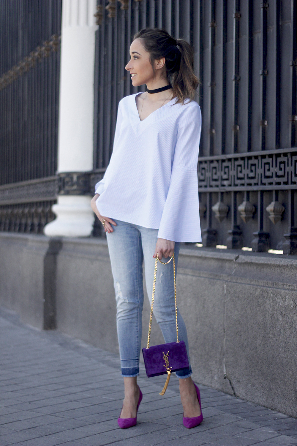 striped blouse with bell sleeves ysl handbag carolina herrena pink heels black choker Aristocrazy Ring outfit02