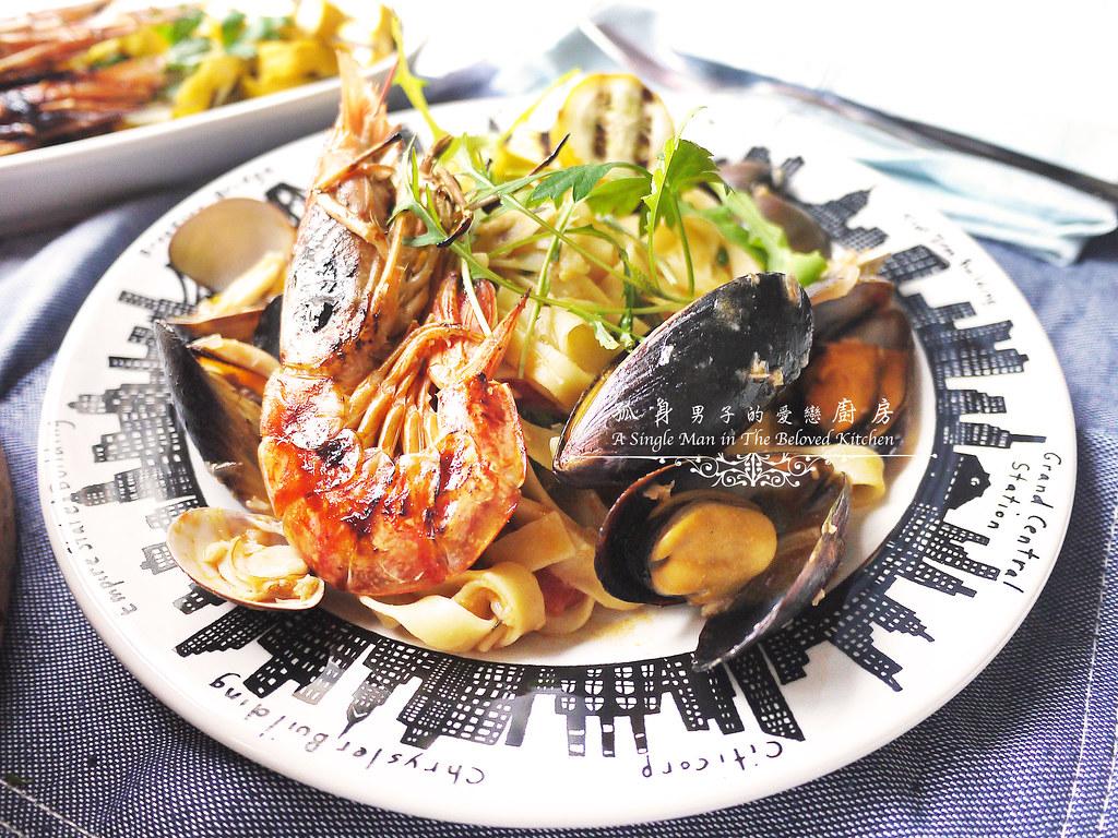 孤身廚房-寶迪鍋一鍋到底茄汁綜合貝類義大利麵佐烤天使紅蝦與櫛瓜37