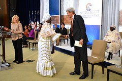 Secretary Kerry Shakes Hands With 2016 International Women of Courage Award Winner Fatimata M'baye of Mauritania After She Delivered Remarks at the Award Ceremony