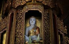 Ancient Buddha statue inside Nga Phe Kyaung