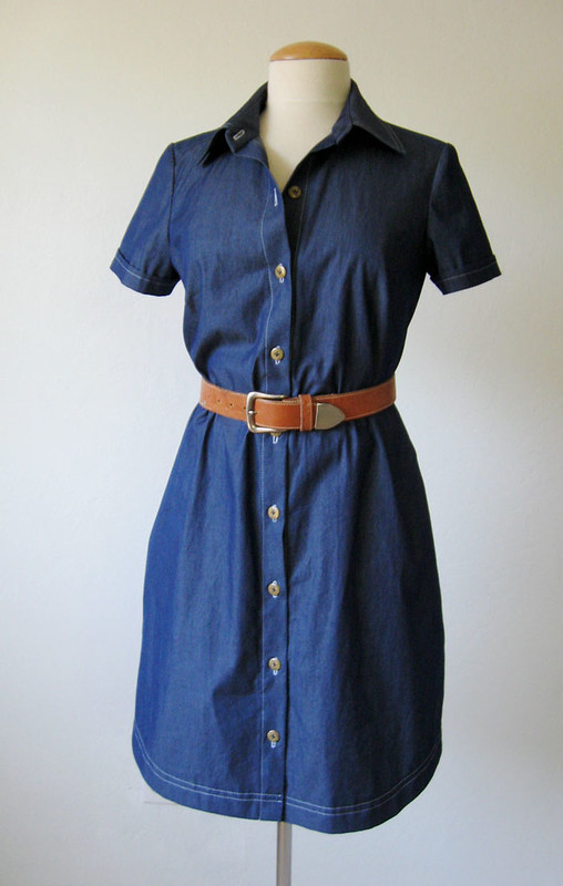 denim dress front on form