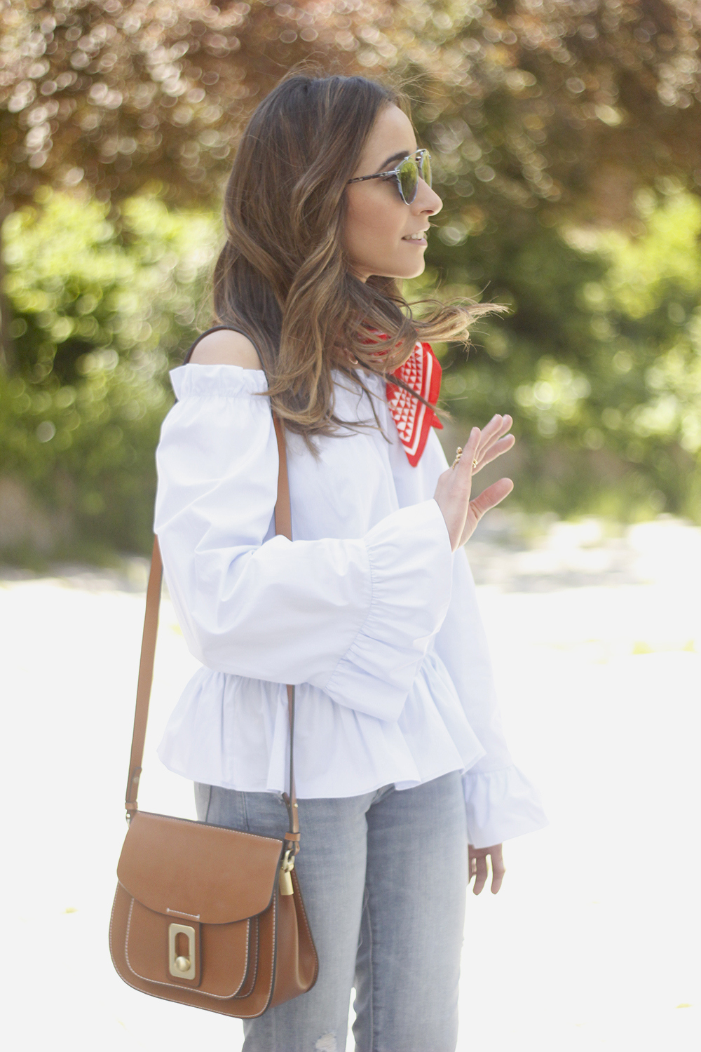 off the shoulders top with bell sleeves red bandana nude heels dior sunglasses spring outfit18