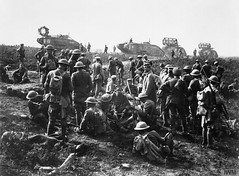 Men of the American 30th Infantry Division with German prisoners following the capture of Bellicourt on 29 September 1918