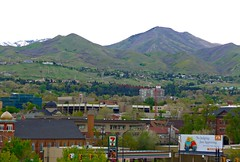 Salt Lake cityscape with Wasatch range in the background
