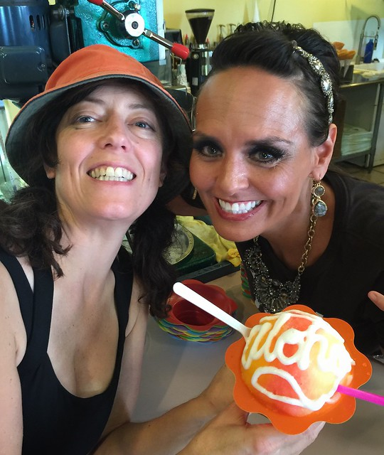 """They wrote """"aloha"""" on our shaved ice in coconut cream!"""