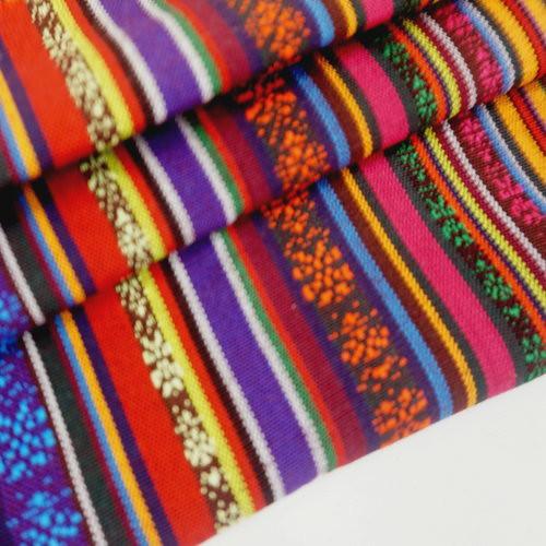 紫紅藍彩條 民族風 原住民 雲南麗江民族 裝飾服裝布料 CE890051
