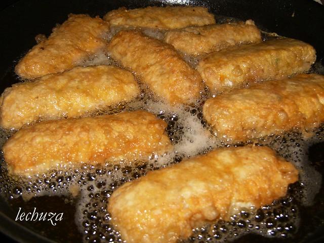 rollitos de carne picada-rebozados huevo