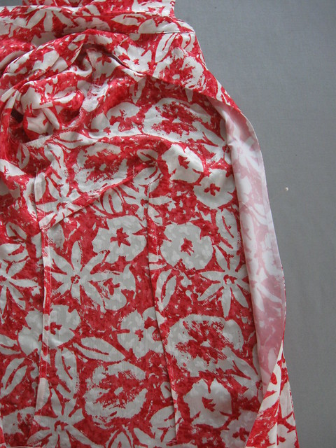 coral silk blouse facing edge