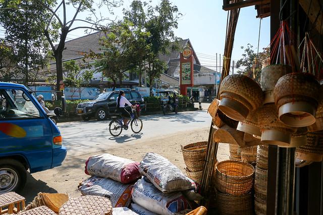 Street seen from a traditional basket shop, Luang Prabang, Laos ルアンパバーン、伝統の籠の店から見るストリート