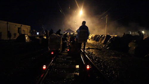 Idomeni at night - northern Greece
