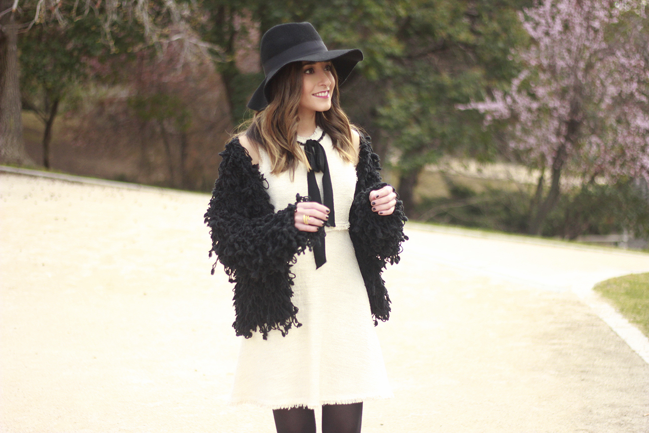 White tweed dress with bow black jacket hat outfit12