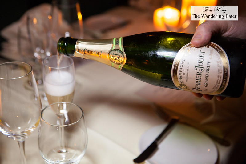 Pouring Perrier Jouet Grand Brut