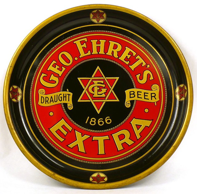 Ehrets-Extra-Draught-Beer-Serving-Trays-10-16-inches-George-Ehret-Brewery