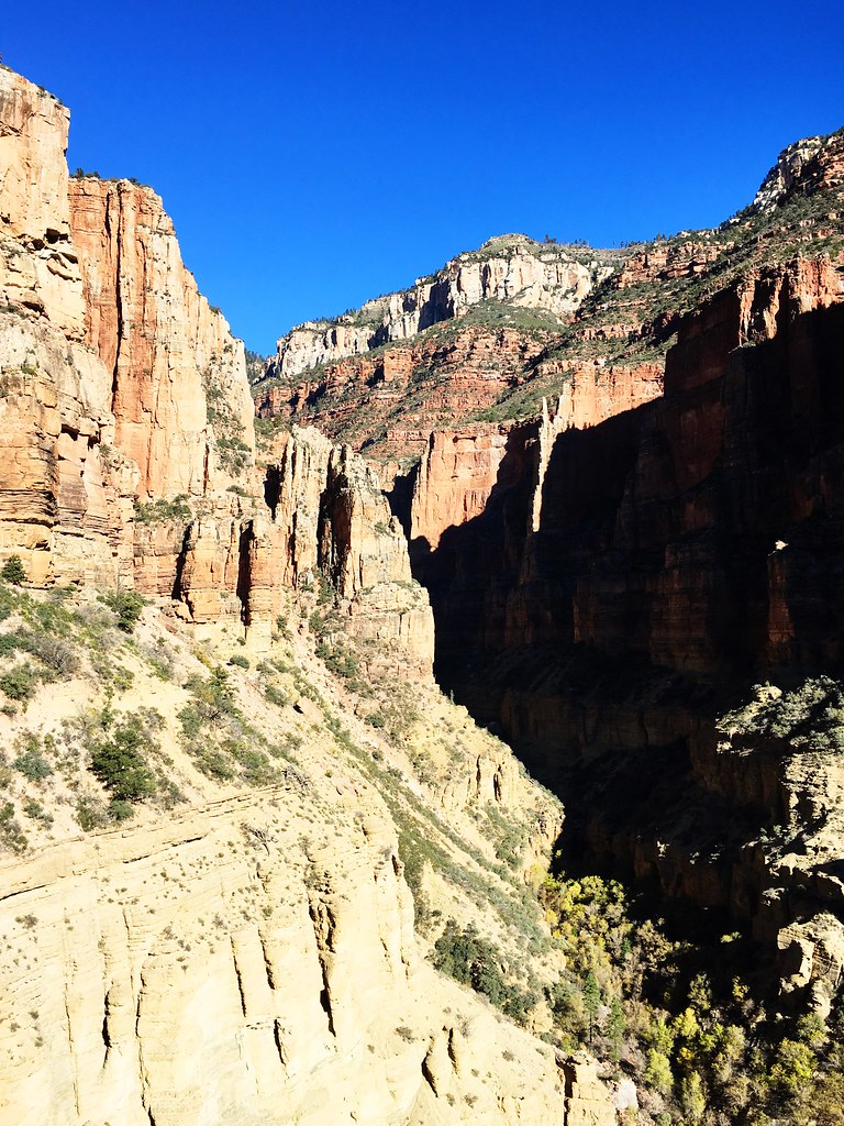 The view from the North Kaibab Trail on the 46-mile R2R2R run in the Grand Canyon
