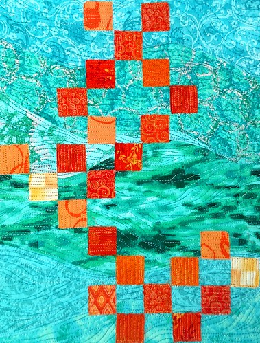 orange grid on turquoise waves