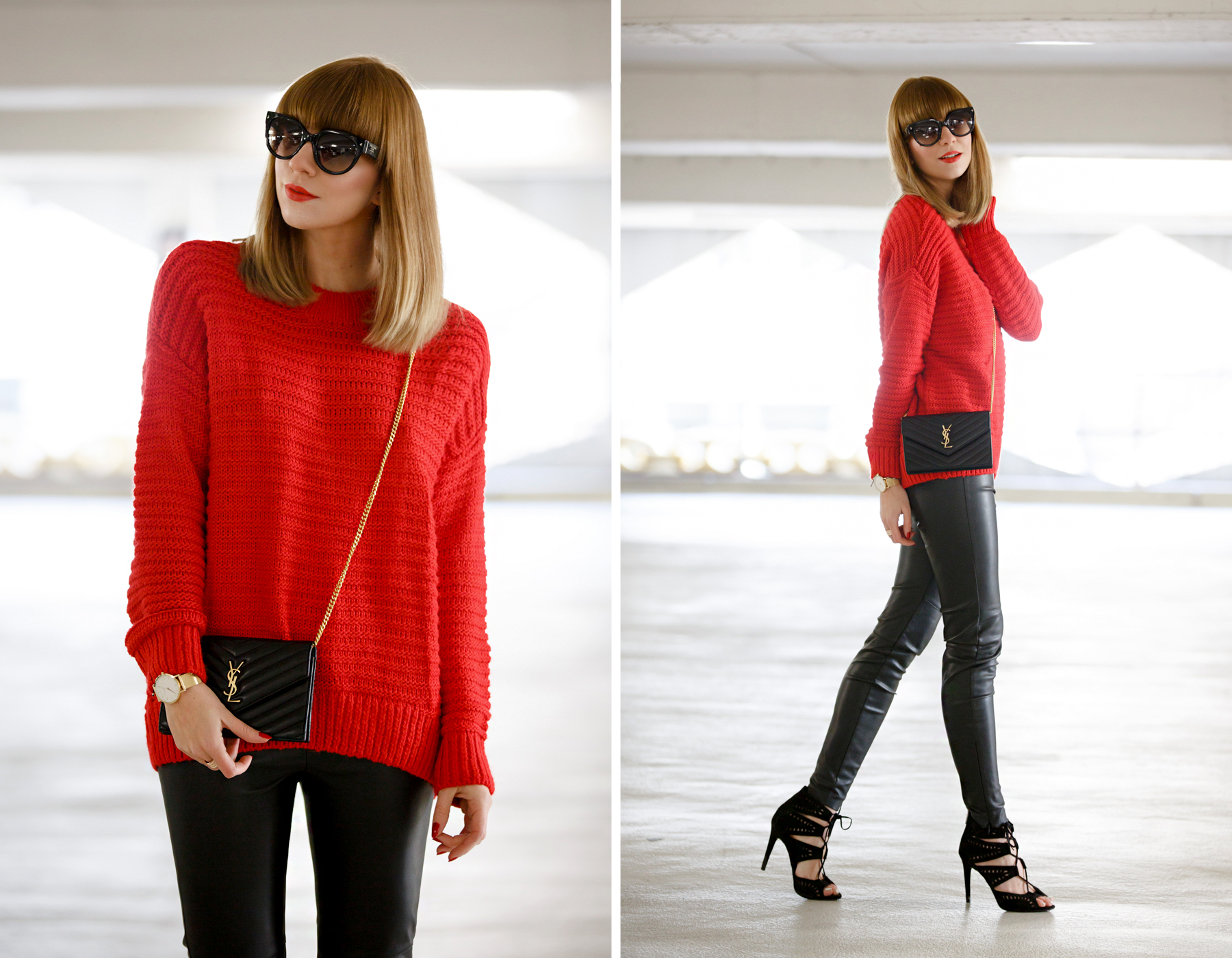 red pullover black leather pants golden details rosefield watch ysl saint laurent paris monogram bag prada celine sunglasses cat eye cute french winter look ootd outfit styling cats & dogs blog ricarda schernus fashionblogger germany dusseldorf 1