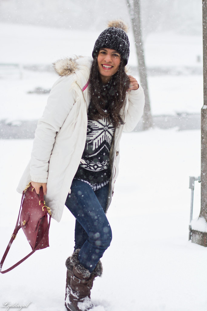 nordic sweater, denim, snow boots, white parka.jpg