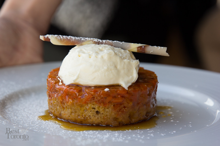 Carrot halva upside down cake with spice, brown sugar reduction, cream cheese icing